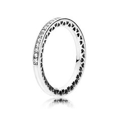 PANDORA Radiant Hearts of PANDORA Ring, Silver Enamel and Clear Cubic Zirconia - Item 191011CZ