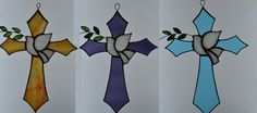Stained Glass Blue Waterglass Cross with Peace Dove and Olive Dove And Olive, Stain Glass Cross, Peace Dove, Water Glass, Glass Design, Suncatchers, Crosses, Color Show, Different Styles