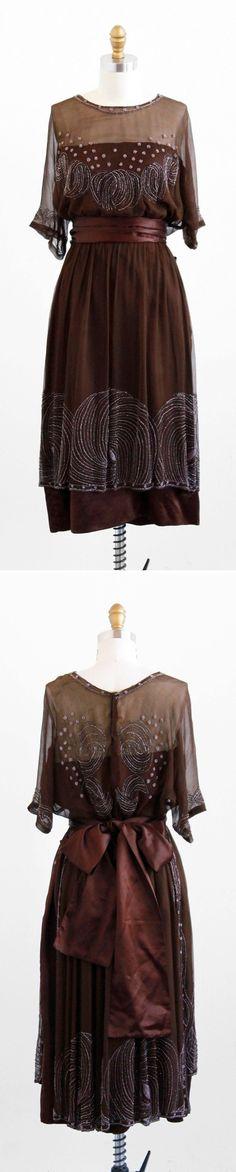 antique 1910s silk chiffon art deco beaded dress.