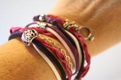 de la boutique AteliersTaffetas sur Etsy Suede, Violet, Boutique, Etsy, Bracelets, Leather, Jewelry, Fashion, Teen