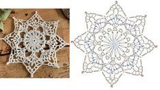 Crochet Snowflake Pattern, Crochet Snowflakes, Crochet Squares, Patterns, Embroidery, Stars, Block Prints, Crochet Blocks, Granny Squares