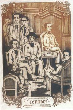 Los cafés de Buenos Aires de Ana María Moncalvo. (1971). Colección de la Pinacoteca del Ministerio de Educación y Deportes.