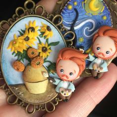 Cute Vincent Van Gogh with his famous paintings