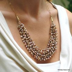 Keishi Pearl and Gold Bib Statement Necklace by WillOaksStudio, $220.00