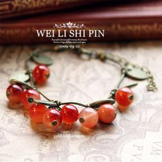 bransoletka porzeczka, jarzębina - studs - Paski i łańcuszki do biżuterii