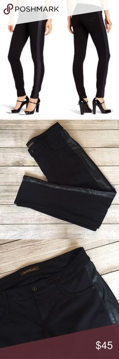 """James Jeans Tuxedo Detail Skinny Pants The perfect black pants! Skinny style. Front and back pockets. Button and zipper closure. Side panel detail. Material provides stretch. Inseam 29"""". Front rise 7.5"""". Waist 16"""" across. 69% rayon/27% nylon/4% spandex. Excellent condition. 🚫NO TRADES/NO MODELING🚫✅ BUNDLE TO SAVE✅ James Jeans Pants Skinny"""