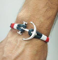 Leather Anchor bracelet. Men's Bracelet, Unisex bracelet, Natural Marine bracelet / Leather Bracelet /Navy Blue Red White Bracelet