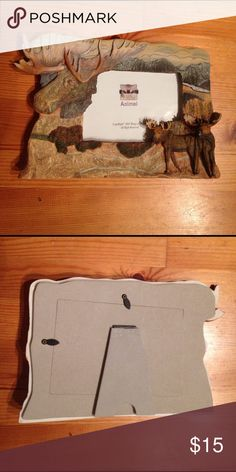 """NEW! 🦌 ANIMALS MOOSE PHOTO FRAME 10"""" x 7"""" Brand new never used 2001 moose frame by ANIMAL. Measures 7"""" high and 10"""" wide. Holds one 4""""x6"""" photo. Poly-resin? Clear plastic photo covering. Animal Other"""