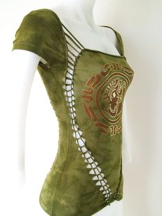 "Junior / Womens Tie Dyed Olive Cut Top "" Tribal Mayan Treasure"" Cut Shirt Series Size Small, Medium, Large, XL, 2XL, 3XL Shredded T. $48.00, via Etsy."
