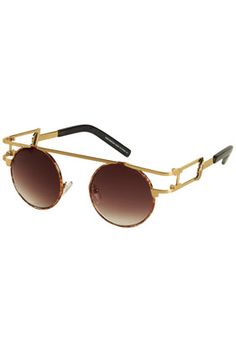 Gold Winged Side Small Round Sunglasses by Unique - $45.00