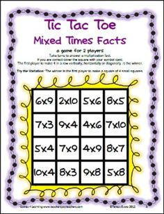 FREEBIE - Multiplication Tic Tac Toe from Games 4 Learning combines the fun of Tic Tac Toe and with practice of basic multiplication facts. Could change to addition as well Math Strategies, Math Resources, Math Activities, Math Board Games, Math Boards, Multiplication Facts, Math Facts, Fourth Grade Math, Math Intervention