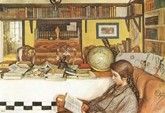 carl larsson, reading room-love the overhead bookshelves here!