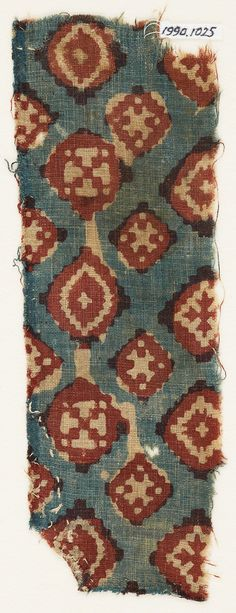 Textile fragment probably imitating patola pattern, with diamond-shapes and crosses, Egypt, 16th century.