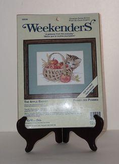 "Weekenders NEW JCA The Apple Basket Kitten Cat 7"" x 5"" Counted Cross Stitch Kit #Weekenders #Picture"