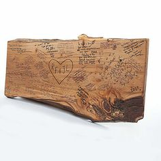 Wood plank guestbook. Think I will do this. Easy and cheap idea for a guestbook. <3 it!
