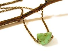 Green Howlite Nugget Necklace by ideology on Etsy, $16.00