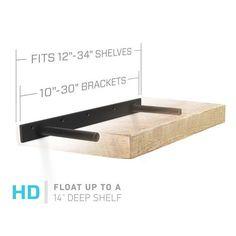 Heavy Duty Floating Shelf Brackets (bracket only) : Fits 12 through 35 inch Floating Shelves