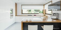 Find home projects from professionals for ideas & inspiration. Projekt domu HomeKONCEPT 33 by HomeKONCEPT Kitchen Room Design, Kitchen Cabinet Design, Home Decor Kitchen, Kitchen Interior, Home Kitchens, Kitchen Dining, Minimalist Kitchen Cabinets, Kitchen Benchtops, Contemporary Kitchen Design