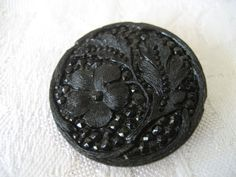 Large ANTIQUE Fancy Lacy Flower Black Glass BUTTON by abandc, $7.55