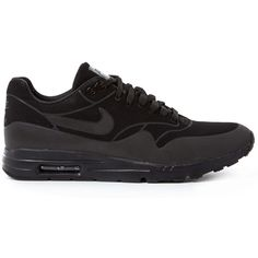 Nike Black Air Max 1 Ultra Moire Trainers ($160) ❤ liked on Polyvore featuring shoes, sneakers, round cap, nike trainers, nike shoes, lace up shoes and perforated sneakers