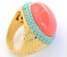 Ladies Girls Cocktail Chunky Ring Boho Coral Turquoise Gold P Size 10 T Funky