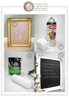 "Framed Chalkboard : DIY craft idea.  Up-cycle a frame for an entirely new & useful decorative wall hanging.  Great ideas and photos need to be ""pinned""."
