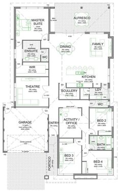 Some of you may like this floor plan with the scullery/laundry/kitchen layout. I… Some of you may like this floor plan with the scullery/laundry/kitchen layout. New House Plans, Dream House Plans, House Floor Plans, Dream Houses, Office Floor Plan, The Plan, How To Plan, Home Design Floor Plans, Kitchen Floor Plans