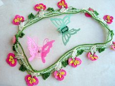 Pink Crochet necklacehandmade jewelry by seragun on Etsy