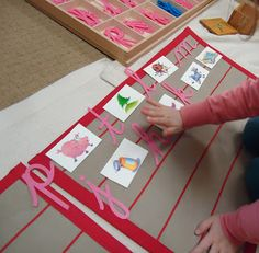 matching beginning sounds to pictures/words with the movable alphabet Pink Blue, Blue Green, Beginning Sounds, Montessori, Alphabet, Homeschool, Language, Gift Wrapping, Teacher