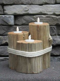 Tree Log Natural Wood Candle Holders
