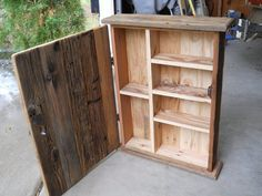 organize medicine cabinets made with reclaimed wood. kept raw with a light sanding stands tall by wide approx deep just a beautiful natural piece shipping is esti Rustic Medicine Cabinets, Rustic Bathroom Cabinet, Pallet Cabinet, Outhouse Bathroom, Pallet Shelves, Pallet Crafts, Diy Pallet Projects, Woodworking Projects Diy, Pallet Ideas