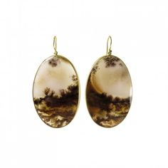 Lola Brooks 18k yellow gold & oval agate landscape earrings. Each stone is set in Lola's signature fine bezel. Sold at LA jewelry store #AUGUST . #LolaBrooks #Agate #Gold