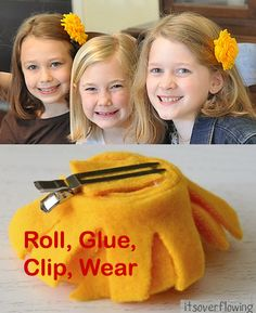 Make your own felt hair pins. Here is a tutorial for Summer fun!   + linky party