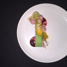 lime house made graham cracker tropical compote blackberry foam mango ...