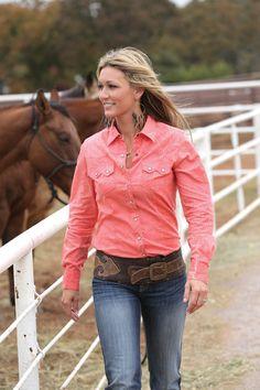 Western Shirts : Pink and Cream Snap Shirt - Cruel Girl