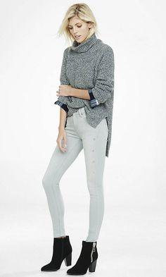 Marled Extreme Hi-lo Hem Turtleneck Sweater | Express