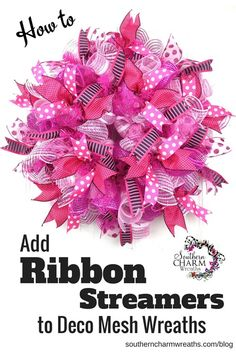 DIY Projects: Pretty DIY Fall WreathsDIY projects ideas - Fall Wreaths - Easy Pretty Ribbon Wreath Tutorial via Sweet and Saving GraceHow to Add Ribbon to Deco Mesh WreathsHow to Add Ribbon Streamers to Deco Mesh Ribbon Wreaths, Deco Mesh Wreaths, Burlap Wreaths, Floral Wreaths, Deco Mesh Crafts, Yarn Wreaths, Deco Mesh Bows, Ribbon Bows, Baby Door Wreaths