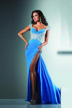 2014 New Off The Shoulder Column Prom Dresses With Slit Blue Chiffon. Item Code: TSPP31BCRQZ