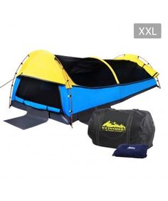 Deluxe King Single Camping Swag - Yellow Blue