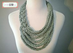 Grey Braided Asymmetrical Necklace with Finger Knit strands by embelLUSHme, $20.00. I`m sure you can do this.