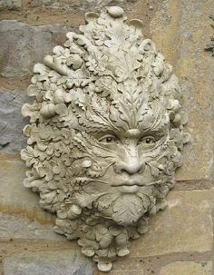 Easy Clay Sculptures : Green man with oak leaves and acorn for the garden