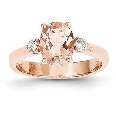 Unique Morganite Diamond Oval Three Stone Halo Antique Vintage Engagement Ring 14K Rose Gold on Etsy, $725.00