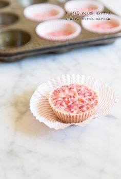This recipe has crushed strawberries mixed with melted cocoa butter and cooled in individual cups to make these rich White Chocolate Strawberry Cups.