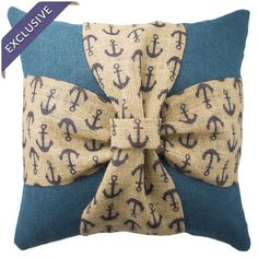 Showcasing a charming anchor-print bow detail, this handcrafted burlap pillow offers nautical-inspired appeal for your bed or favorite reading nook. Made in ...