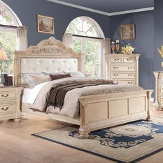 Roxbury Cream Pearl Button Tufted Bonded Leather Wood Bed