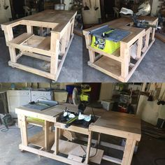 Fast and easy mobile workstation with table saw and miter saw . - Fast and easy mobile workstation with table saw and miter saw platforms woodworking bench - Miter Saw Table, Table Saw Workbench, Diy Table Saw, Workbench Plans, Garage Workbench, Table Saw Jigs, Folding Workbench, Woodworking Furniture, Woodworking Shop
