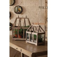 Wood And Glass Terrarium, Set Of 2 Kalalou Decorative Objects Decorative Accessories Home Home Decor Accessories, Decorative Accessories, Decorative Objects, Decorative Accents, Urban Farmhouse Designs, Small Greenhouse, Greenhouse Ideas, Pallet Greenhouse, Homemade Greenhouse