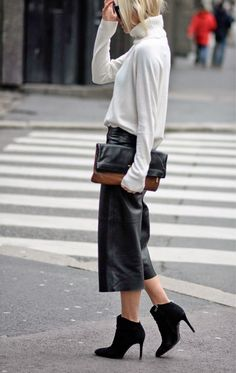 Spring Fashion Ideas: How to wear culottes. Hippie hippie milkshake in leather culottes with ankle boots.