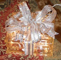 Glass Block / Light Up Block / Present For Decoration With Silver Bow (Etsy)