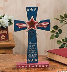 FE-OTC-Patriotic-4th-of-July-Decor-Religious-Cross-Psalm-33-Blessed-Nation